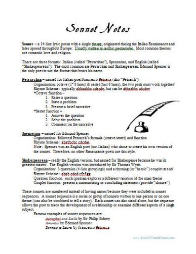 Sonnet Lecture Notes