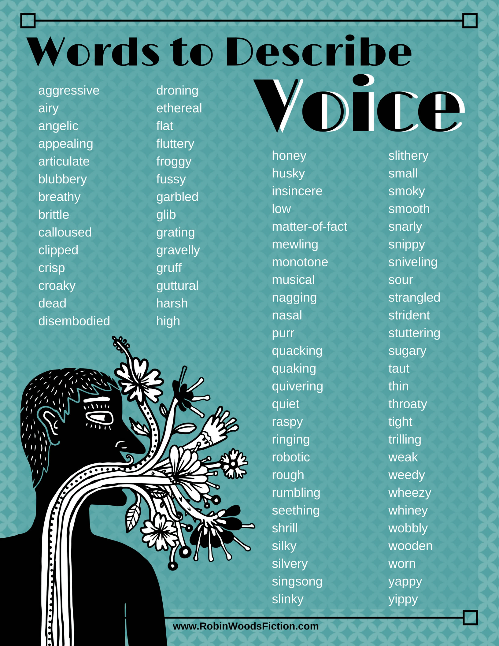 Writing Resource Words To Describe Voice Infographic. Physician Assistant Resume Template. Free Printable Daily Planner Template. Excel Inventory Spreadsheet Templates Tools. Art Internship Cover Letter. Resume Templates With Cover Letters Template. Real Estate Business Plan. Free Award Certificate Templates. Order Form Excel Template